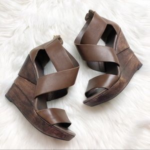 EUC Diane von Furstenberg Crisscross Wedge Sandals